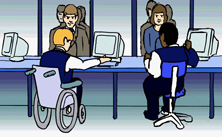 ticket office working wheelchair